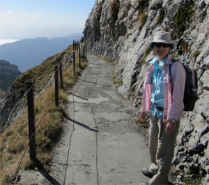Margaret McCue takes a hike in the Swiss Alps.